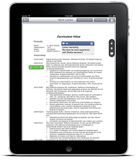 Dutch product development Cureka! introduced for global recruitment market Cureka! Is officially launched on August 7th in the Dutch and the world's first tool that enables recruiters and managers to screen resumes on the iPad and simultaneously enrich and classify CVs. By adding '(dis)likes', 'sticky notes' and photos, CVs become […]