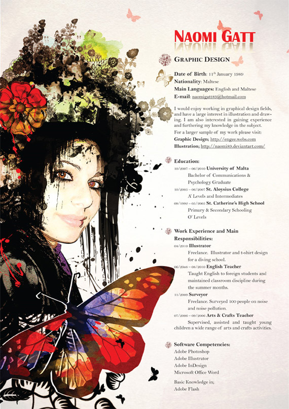 """Most resumes are standard and boring. Yet there are many who are creative and beautiful. For example this resume from Naomi Gatt, a graphic designer in Malta. This series of creative CVs, or special online profiles, can be found under the blog category """"CV's & profiles""""."""