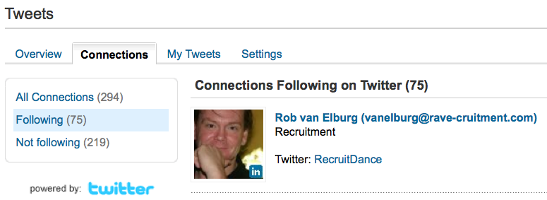I'm finalising my research for a new 2011 edition of my book 'Recruitment via LinkedIn' and noticed a strange thing. The number of Tweets in my growing list of connections has dropped considerably. Four months ago, on 20 September 2010, I had 425 direct connections out of approximately 1150 who […]