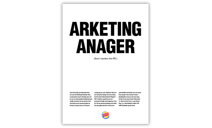 What do you do when you are the second fast-food chain in the world and are looking for a marketing manager? Whatever you do, do not mention the M… Source: Maximum, China, 2010