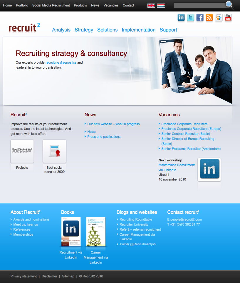 I'm very proud to launch the World's First* recruitment related website build 100% in HTML5; www.recruit2.com HTML5 is the next major revision of the HTML standard, currently under development. Like its immediate predecessors, HTML 4.01 and XHTML 1.1, HTML5 is a standard for structuring and presenting content on the World […]